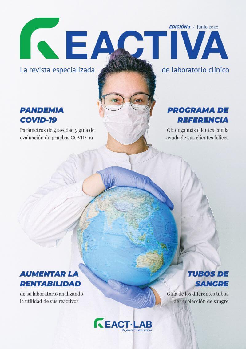 Portada de la primera edición de la revista Reactiva especializada de laboratorio clínico
